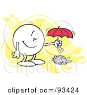 Royalty Free RF Clipart Illustration Of A Moodie Character Holding An Umbrella Over A Groundhog