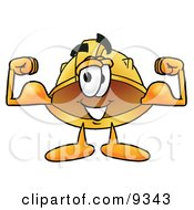 Clipart Picture Of A Hard Hat Mascot Cartoon Character Flexing His Arm Muscles