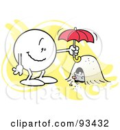 Royalty Free RF Clipart Illustration Of A Moodie Character Holding An Umbrella Over A Groundhogs Den