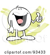 Royalty Free RF Clipart Illustration Of A Moodie Character Holding A Thumb Up by Johnny Sajem