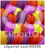 Royalty Free RF Clipart Illustration Of A Background Of Purple Red Pink And Yellow Tulip Flowers by elaineitalia