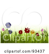 Royalty Free RF Clipart Illustration Of Spring Flowers In Tall Grass And Ferns Over White