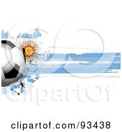 Royalty Free RF Clipart Illustration Of A Shiny Soccer Ball Over A Grungy Halftone Argentinian Flag by elaineitalia