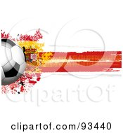 Royalty Free RF Clipart Illustration Of A Shiny Soccer Ball Over A Grungy Halftone Spanish Flag