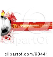 Royalty Free RF Clipart Illustration Of A Shiny Soccer Ball Over A Grungy Halftone Chinese Flag by elaineitalia