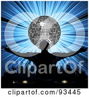 Royalty Free RF Clipart Illustration Of A Dj Wearing Headphones Under A Silver Disco Ball A Crowd Dancing On Blue by elaineitalia #COLLC93445-0046