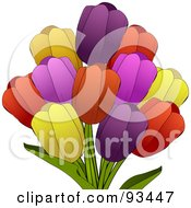 Royalty Free RF Clipart Illustration Of A Colorful Bunch Of Spring Tulip Flowers Over White by elaineitalia