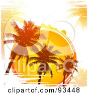 Royalty Free RF Clipart Illustration Of A Grungy Tropical Sun Circle With Silhouetted Palm Trees And Halftone On White by elaineitalia