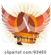 Royalty Free RF Clipart Illustration Of A Grungy Football Shield With Wings And A Blank Banner Over Halftone by elaineitalia