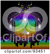 Royalty Free RF Clipart Illustration Of A Winged Rainbow Disco Ball Globe With Headphones With Music Notes A Burst And A Equalizer Bars On Black by elaineitalia