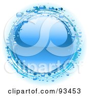 Royalty Free RF Clipart Illustration Of A Shiny Blue Water Drop Circled By Smaller Drops by elaineitalia