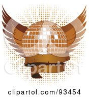 Royalty Free RF Clipart Illustration Of A Brown Grungy Disco Ball With Wings And A Blank Banner Over Halftone On White