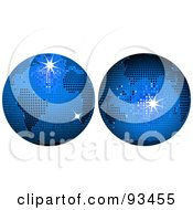 Royalty Free RF Clipart Illustration Of A Digital Collage Of Blue Disco Ball Globes by elaineitalia