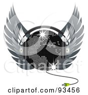 Royalty Free RF Clipart Illustration Of A Map Disco Ball With Headphones And Wings