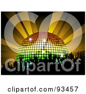Royalty Free RF Clipart Illustration Of A Silhouetted Crowd Dancing By A Rainbow Disco Ball Under Orange Lights