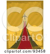 Royalty Free RF Clipart Illustration Of A Grungy Retro Airplane Taking Off Over Clouds