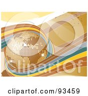 Royalty Free RF Clipart Illustration Of Brown Blue And Yellow Waves Circling A Golden Disco Globe