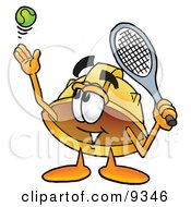 Clipart Picture Of A Hard Hat Mascot Cartoon Character Preparing To Hit A Tennis Ball by Toons4Biz
