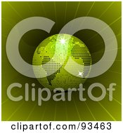 Royalty Free RF Clipart Illustration Of A Green Disco Ball Globe In A Green Vortex