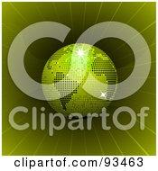 Green Disco Ball Globe In A Green Vortex