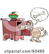 Royalty Free RF Clipart Illustration Of A Toon Dog Looking In A Cabinet For A Bone