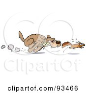 Royalty Free RF Clipart Illustration Of An Aggressive Toon Dog Chasing After A Scared Little Squirrel
