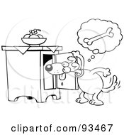 Royalty Free RF Clipart Illustration Of An Outlined Toon Dog Searching For A Bone In A Cabinet by gnurf