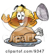 Clipart Picture Of A Hard Hat Mascot Cartoon Character Serving A Thanksgiving Turkey On A Platter by Toons4Biz