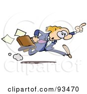 Business Toon Guy Running And Holding Up His Finger by gnurf