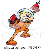 Blond Astronaut Toon Guy Hero Holding Up A Ray Gun