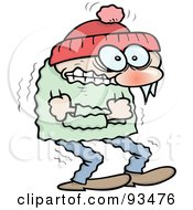 Royalty Free RF Clipart Illustration Of A Shivering Winter Toon Guy Hugging Himself To Keep Warm
