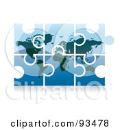 Royalty Free RF Clipart Illustration Of A 3d Blue World Puzzle App Icon by MilsiArt