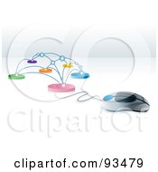 Royalty Free RF Clipart Illustration Of A 3d Computer Mouse Connected To A Network