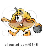 Clipart Picture Of A Hard Hat Mascot Cartoon Character Holding A Bowling Ball by Toons4Biz