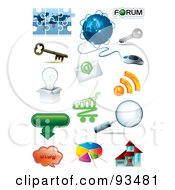 Royalty Free RF Clipart Illustration Of A Digital Collage Of 3d Internet And App Icons by MilsiArt