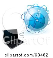 Royalty Free RF Clipart Illustration Of A 3d Laptop Connected To A Blue Glob Network