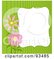 Royalty Free RF Clipart Illustration Of A White Text Box Bordered With Green Stripes And Pink Flowers