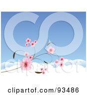 Royalty Free RF Clipart Illustration Of A Background Of Pink Cherry Blossoms Against A Blue Sky With Clouds by Pushkin
