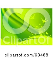 Royalty Free RF Clipart Illustration Of A Green Background Of Birds Above Flowers On A Hill