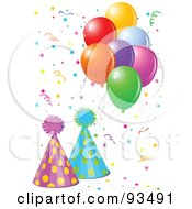Royalty Free RF Clipart Illustration Of Two Party Hats With Balloons And Confetti