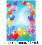 Royalty Free RF Clipart Illustration Of A Border Of Colorful Party Balloons And Confetti Ribbons Over Blue