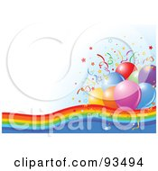 Confetti And Party Balloons On A Rainbow Over A White And Blue Background