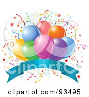 Royalty Free RF Clipart Illustration Of A Bunch Of Colorful Party Balloons And Confetti Ribbons Over A Blank Blue Banner