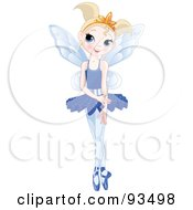 Royalty Free RF Clipart Illustration Of A Dancing Blond Ballerina Fairy Girl In A Blue Tutu