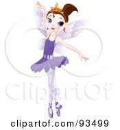 Royalty Free RF Clipart Illustration Of A Dancing Brunette Ballerina Fairy Girl In A Purple Tutu