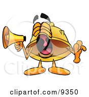 Hard Hat Mascot Cartoon Character Screaming Into A Megaphone by Toons4Biz
