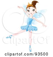 Royalty Free RF Clipart Illustration Of A Dancing Brunette Ballerina Fairy Girl In A Blue Tutu