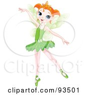 Royalty Free RF Clipart Illustration Of A Dancing Red Haired Ballerina Fairy Girl In A Green Tutu by Pushkin