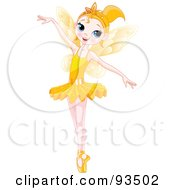 Royalty Free RF Clipart Illustration Of A Dancing Blond Ballerina Fairy Girl In A Yellow Tutu