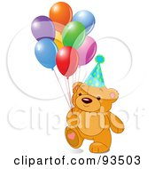 Royalty Free RF Clipart Illustration Of A Teddy Bear With Colorful Party Balloons And A Hat
